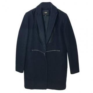 Maje Wool And Cashmere Blend Navy Coat