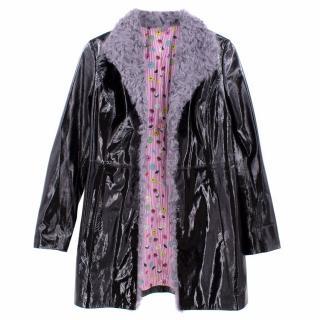 Charlotte Simone black patent leather coat