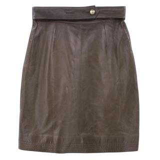 Fendi brown leather pencil skirt