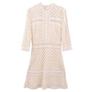 Ba&sh creme lace cotton dress