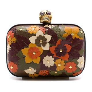 Alexander McQueen leather floral applique clutch bag