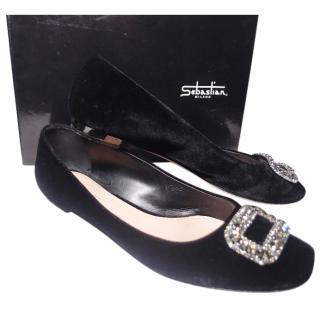 Sebastian Ballet Velour/Leather Shoes Sz 41/UK 8