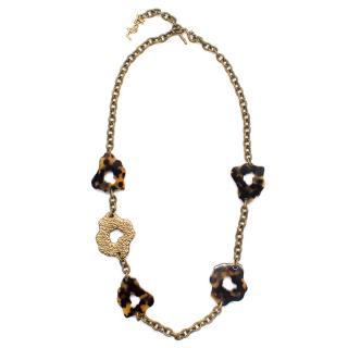 Yves Saint Laurent tortoise shell chain necklace