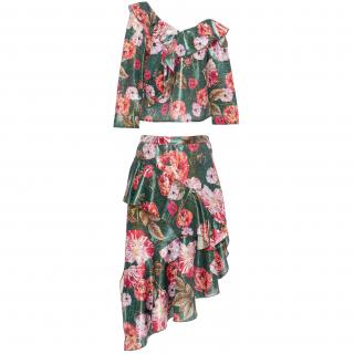 Delfi Collective floral print ruffle top & skirt set
