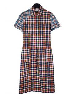 Victoria Beckham jeans short sleeve check dress