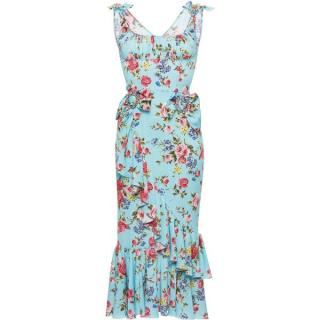 Dolce And Gabbana blue floral dress IT46