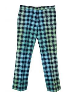 Victoria Victoria Beckham mulitcolour check wool-blend trousers