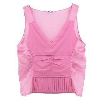 Miu Miu pink pleated v-neck stretch silk top