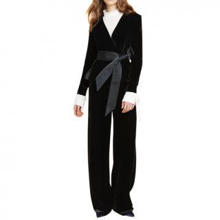 Beulah tamara black velvet silk blend jacket blazer