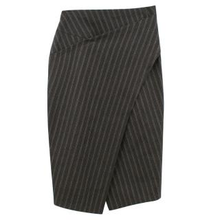 Donna Karan black striped wool blend wrapped pencil skirt