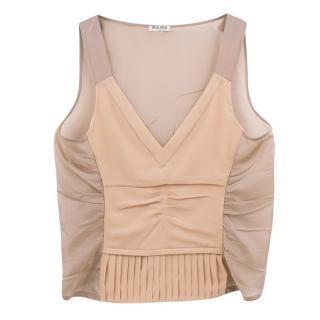 Miu Miu nude pleated v-neck stretch silk top