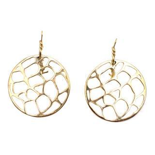 YSL gold disc drop earrings