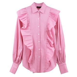 Petersyn pink cotton striped ruffled shirt