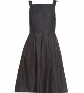 YMC pinafore style denim blue dress with bow detail