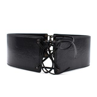 Yves Saint Laurent Patent Leather Lace Up Belt
