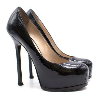 Yves Saint Laurent black textured heels