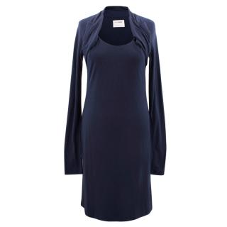 Hussein Chalayan Navy Wool Blend Dress