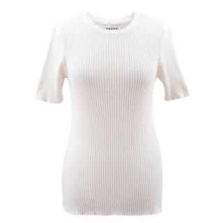 Frame ribbed ivory top