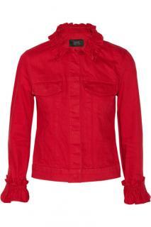 J Brand x Simone Rocha red ruffled denim jacket