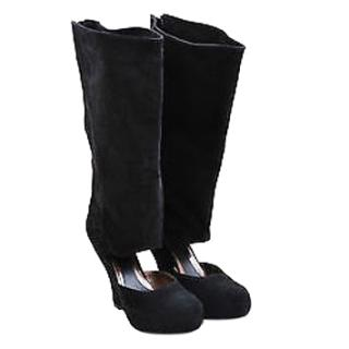 Marni Cut away black suede wedge boots.