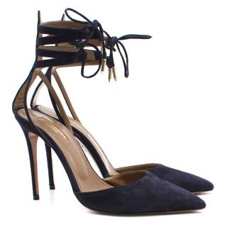 Aquazzura navy lace up suede sandals