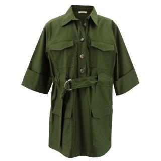 Celine green belted shirt dress