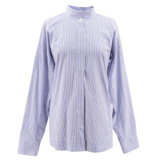 Jil Sander blue cotton pinstripe shirt
