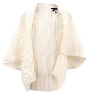 Elie Saab ivory silk pleated jacket