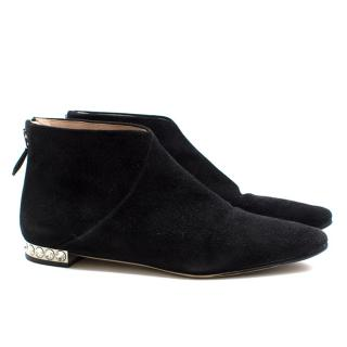 Miu Miu black suede crystal embellished ankle boots