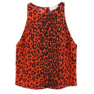 A.L.C. red leopard print silk top