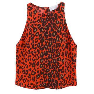 A.L.C. red leopard print silk top