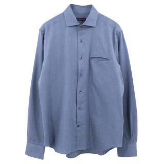Corneliani blue cotton micro herringbone shirt