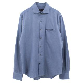 Corneliani blue cotton micro herringbone shirt