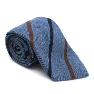 N.Peal blue striped cashmere and silk blend tie