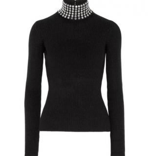 Alexander Wang Crystal Embellished Knit Turtleneck Sweater