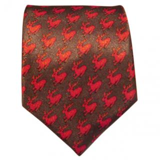 Hermes twill silk grey red leaping deer tie