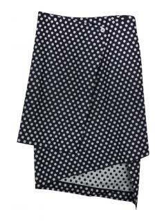 Victoria Beckham Jeans indigo polka dot wrap skirt