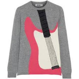 Moschino Intarsia Guitar 100% Cashmere Jumper Sweater