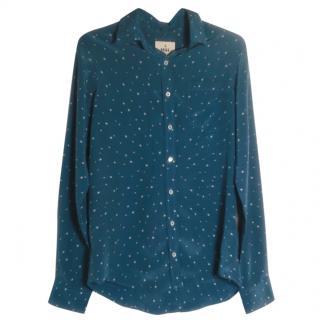 MIH Jeans blue star print silk shirt