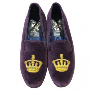 My Slippers Purple Royal Velvet Crown Handmade shoes