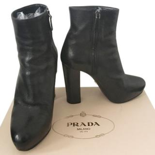 Prada Black Leather Cuervo Shine Ankle Boots