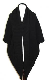 Wolford Black Wool Chunky Cable Knit Cardigan