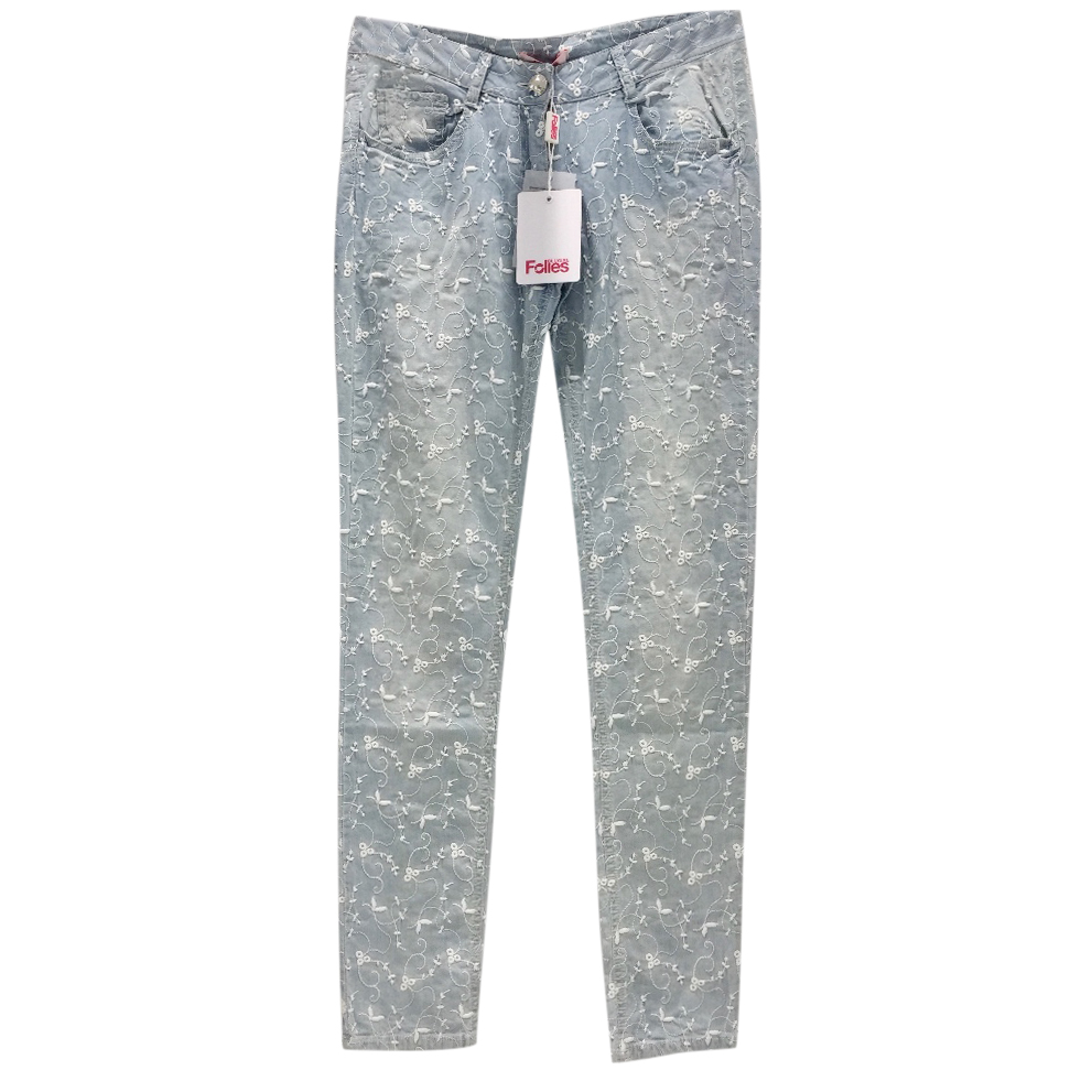 Blumarine Filigree Embroidered Pale Blue Jeans