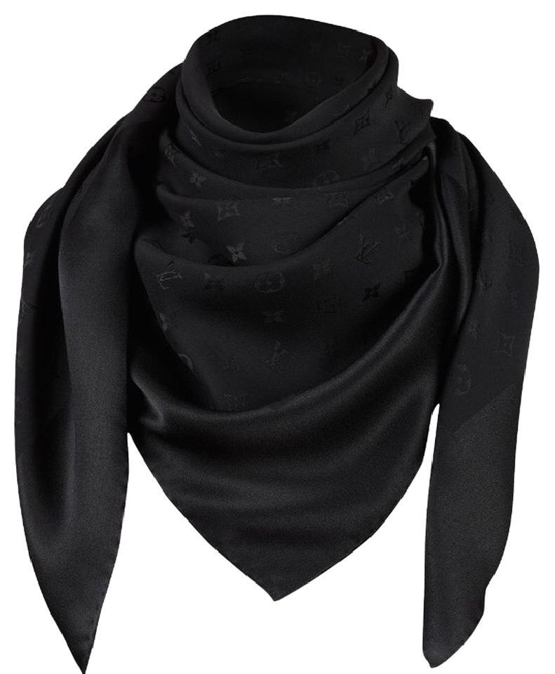 c2d1886415d1 Louis Vuitton Black Silk Monaco Square Scarf