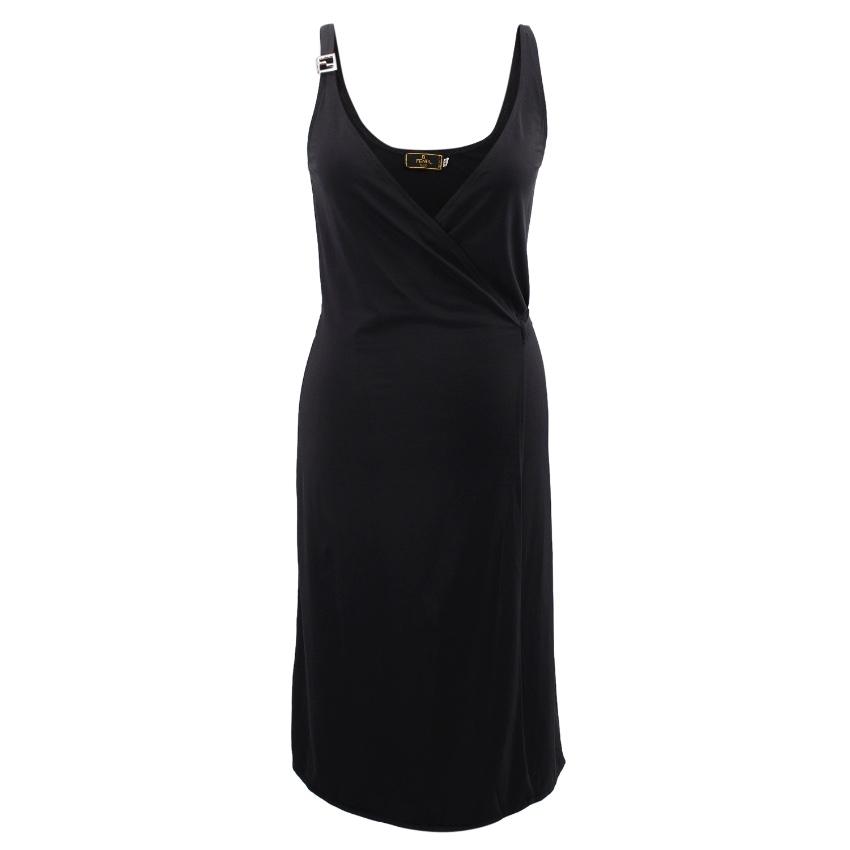 Fendi black wrap dress