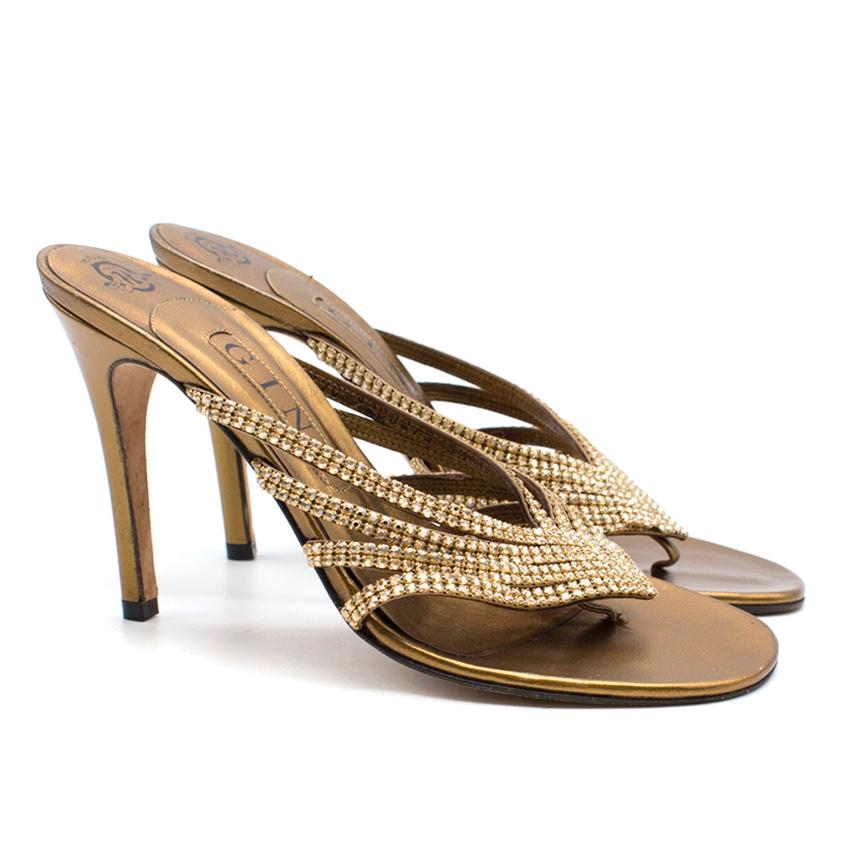 Gina gold crystal embellished sandal heels