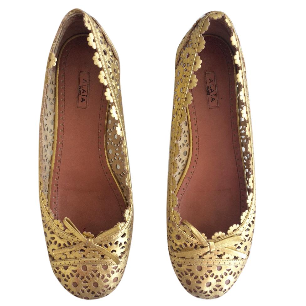 Alaia Gold Lace Ballet Pumps