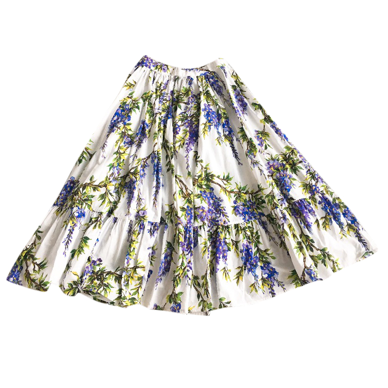 58a8a7bbdeb77 Dolce Gabbana Wisteria Print Girls Skirt | HEWI London