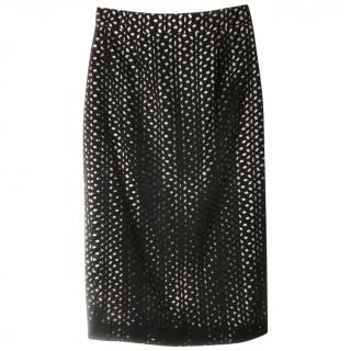 Derek Lam black guipure lace skirt