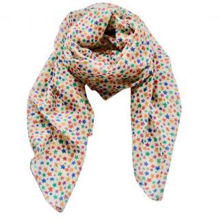 Saint Laurent star print wool-silk scarf